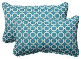 Pillow Perfect Outdoor 2-Piece Lumbar Toss Pillow Set - Teal/White Geometric