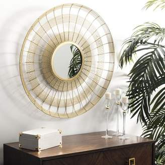 Safavieh Acton 28 in. Metal Wired Striped Round Mirror, Shiny Brass