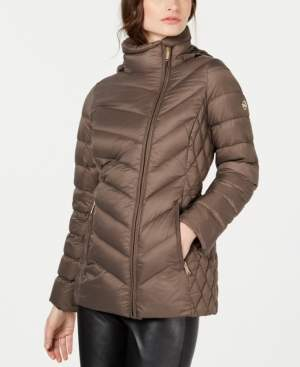 Michael Kors Michael Petite Hooded Packable Down Puffer Coat, Created for Macy's