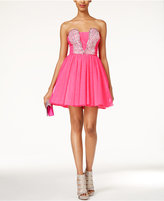As U Wish Juniors' Strapless Jewel-Embellished A-Line Dress