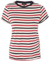 Topshop Striped roll back t-shirt