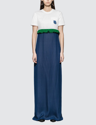 Prada Jersey and Chiffon Dress with Ruching