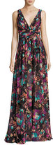 Badgley Mischka Sleeveless Ruched Floral Chiffon Gown, Black/Multicolor