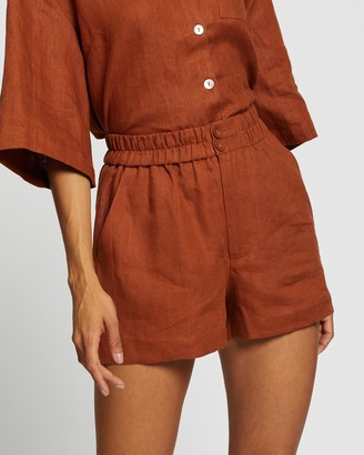 AERE - Women's Brown High-Waisted - Button Through Linen Lounge Shorts - Size 12 at The Iconic