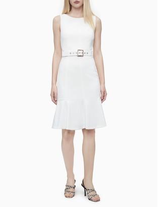 Calvin Klein Solid Belted Flutter Hem Sheath Dress