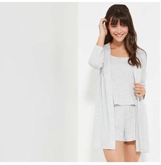 Joe Fresh Women's Pointelle Sleep Robe, Light Grey Mix (Size L)