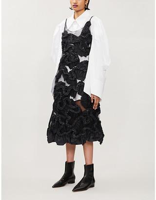 Roberts Wood Ruched-applique woven midi dress