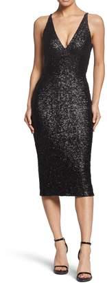 Dress the Population Plunge V-neck Sparkle Dress