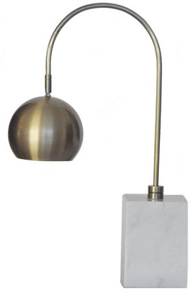 Design Living White Marble Base Table Lamp, Antique Brass Metal Shade