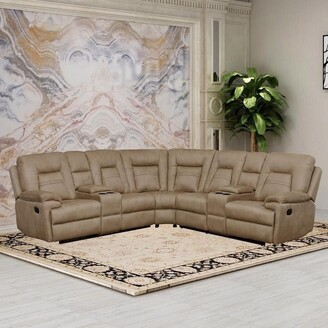 Overstock Vanity Art Brown Microfiber 3-Pieces Reclining Loveseat with Console Living Room Set Recliner Sofa