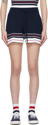 Thom Browne Navy Double Cricket Pin Tuck Shorts