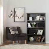 South Shore Morgan 4-Shelf Bookcase with 2 Canvas Storage Baskets in Gray Maple