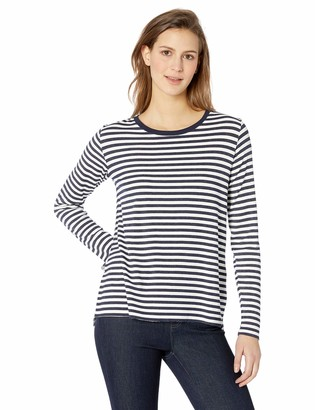 Majestic Filatures Women's French Terry Stripe Long Sleeve Crew W/Side Slits