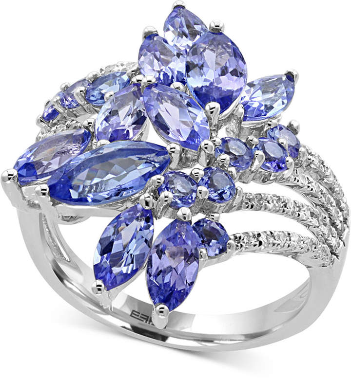 Effy Tanzanite Royale Tanzanite (4 ct. t.w.) and Diamond (1/5 ct. t.w.) Ring in 14k White Gold, Created for Macy's