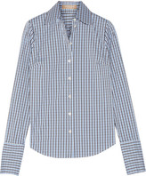 Michael Kors Checked Cotton-blend Poplin Shirt - Blue