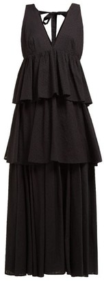 Rhode Resort Leela Tiered Fil-coupe Cotton Maxi Dress - Womens - Black