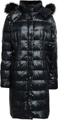 Donna Karan Faux Fur-trimmed Quilted Shell Hooded Down Coat