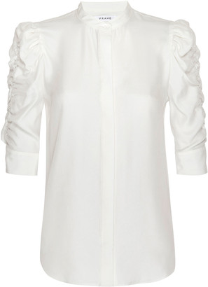 Frame Shirred-Sleeve Button-Up Silk Shirt
