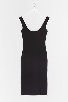 Nasty Gal Womens Keep Us in the Scoop Slit Midi Dress - Black - 6