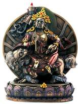 Summit Bronze Vaisravana Sitting On Lotus Buddhism Display Statue