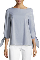 Lafayette 148 New York Elaina Tie-Sleeve Striped Stretch-Cotton Blouse, Marina