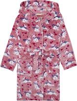 Hatley Bunnies print hooded fleece dressing gown 6-14 years