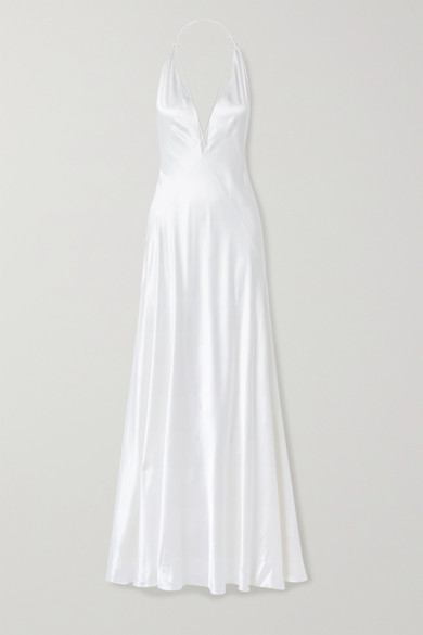 Michael Lo Sordo Alexandra Silk-satin Gown - White