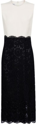 Valentino lace-trimmed crepe midi dress