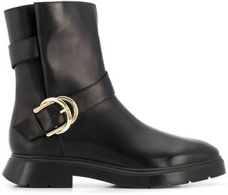 Stuart Weitzman Brenna side buckle boots