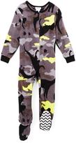 Komar Kids Yellow & Black Camo Dinosaur Footie Pajamas - Boys