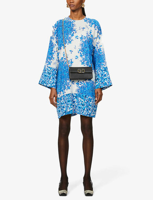 Valentino Floral-print crepe mini dress