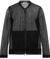 Jil Sander Stretch-tulle Bomber Jacket - Black