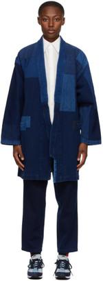 Blue Blue Japan Navy and Blue Patchwork Sashiko Haori Jacket