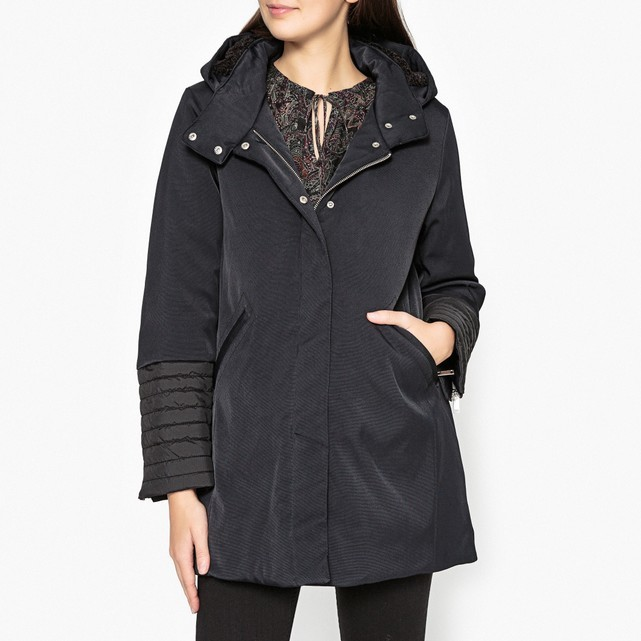 Ikks Dual-Fabric Hooded Parka