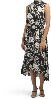 Sleeveless Floral Print Midi With Smocking