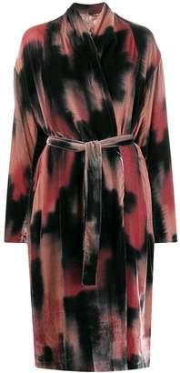 Masnada tie-dye print belted coat