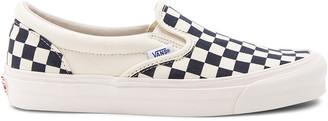 Vans OG Classic Canvas Checkerboard Slip On LX in White & Navy | FWRD