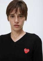 Comme des Garcons black v-neck red heart pullover