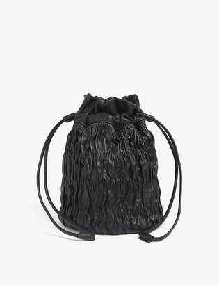 Ganni Napa ruched drawstring leather bag