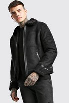 boohoo Mens Black Faux Suede Aviator Jacket With Faux Fur Collar, Black