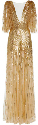 Monique Lhuillier Sequined Chiffon Low-Back Gown