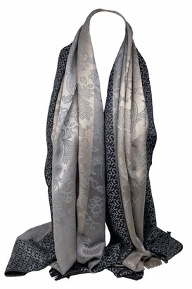 Scarf Shack Self-Embossed Reversible Two Sided Floral and Paisley Print with Background Stripes Pashmina Feel Scarf Wrap Shawl Stole Head Scarves (Steel Grey)