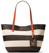 MICHAEL Michael Kors Illustrations Large Striped Tote Bag, Brown/Orange