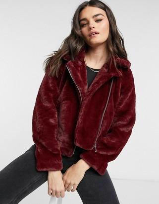 Vero Moda faux fur biker jacket in red