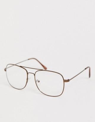 clear Asos Design ASOS DESIGN aviator fashion glasses in dark copper metal with lenses