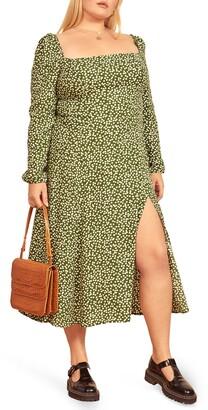 Reformation Sigmund Long Sleeve Dot Print Midi Dress