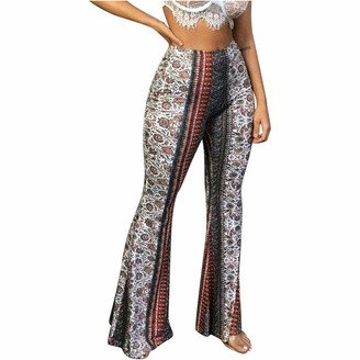 TIFIY Fashion Floral Print Womens Leisure Straight Wide Leg High Waist Elastic Slim Fit Flare Trousers Pants White