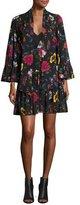 McQ by Alexander McQueen Bell-Sleeve Floral Chiffon Mini Dress, Black/Multicolor