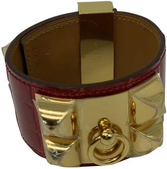 Hermes Collier de chien Red Alligator Bracelets