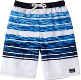 Big Chill White & Blue Ocean Stripe Board Shorts - Toddler & Boys